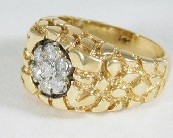 14K Yellow Gold Gentleman's Diamond Ring