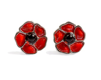 Henryka Hand Painted Silver and Amber Poppy Stud Earrings
