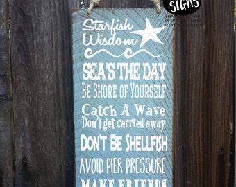 starfish, starfish decor, starfish sign, starfish story, advice from the ocean, beach decor, beach house decoration, beach decor, 157/223
