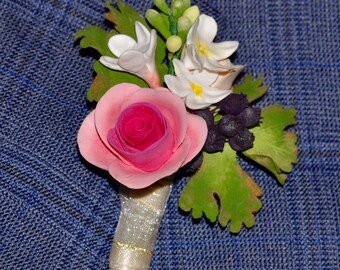 Wedding boutonniere - clay groomsmen boutonniere - rose boutonniere