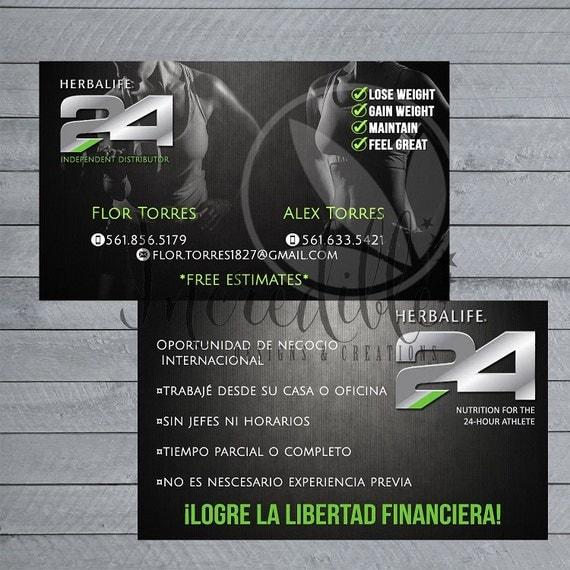 Herbalife 24 business card in Spanish by MarketInkpireDesigns
