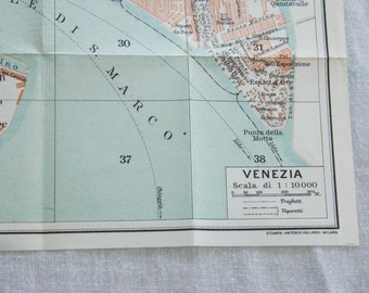 1927 Venice Italy Antique Map