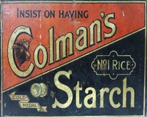 Colmans Starch Mustard English Vintage Advertising Enamel Metal TIN SIGN Wall Plaque