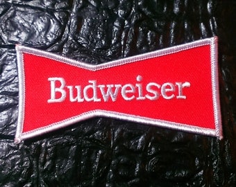 """Classic """"Budweiser Bow Tie"""" Embroidered Iron On Patch  4''X2"""""""