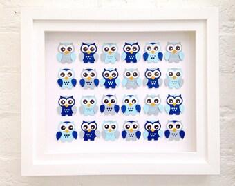 woodland owl nursery wall decor, Framed unique baby gift, baby boy blue owl nursery art, framed new baby gift, Owl decor, new baby gift