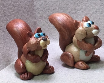 Squirrel miniatures -Choose from 6 colors!
