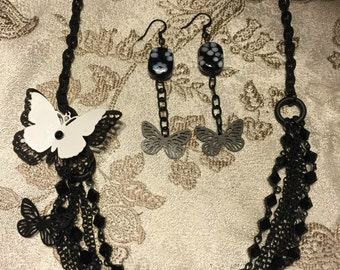 Butterfly Necklace and Butterfly Earring Set