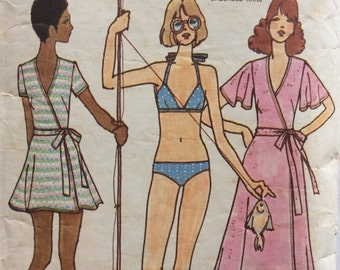 Butterick 3118 vintage 1970's misses bikini & cover-up sewing pattern size 10 bust 32.5 Betsey Johnson of Alley Cat
