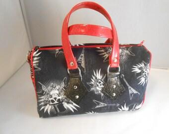 Skull and Guitar Handbag, Rock Star Purse, Skull Purse, Barrel Bag, Top Handle Bag, Shoulder Bag, Punk Rock Purse, Glitter Vinyl