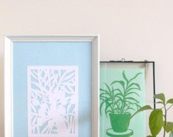 Palm Tree Original Papercut BLUE