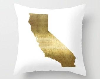 California Pillow Gold Pillow Cover California Map Pillow State Map Gold Foil State Map Pillowcase California Home Decor Map Pillow