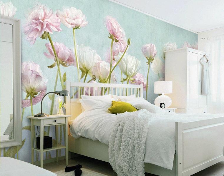 mint gr n gebl mte tapete poetsie blass turquise rosa wei e. Black Bedroom Furniture Sets. Home Design Ideas