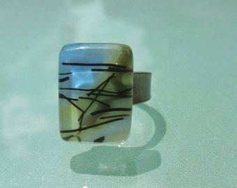 Adjustable tin ring blue and green  fusing glass handmade