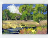 original 4x6 oil painting modern impressionist landscape tree painting, cloud painting,