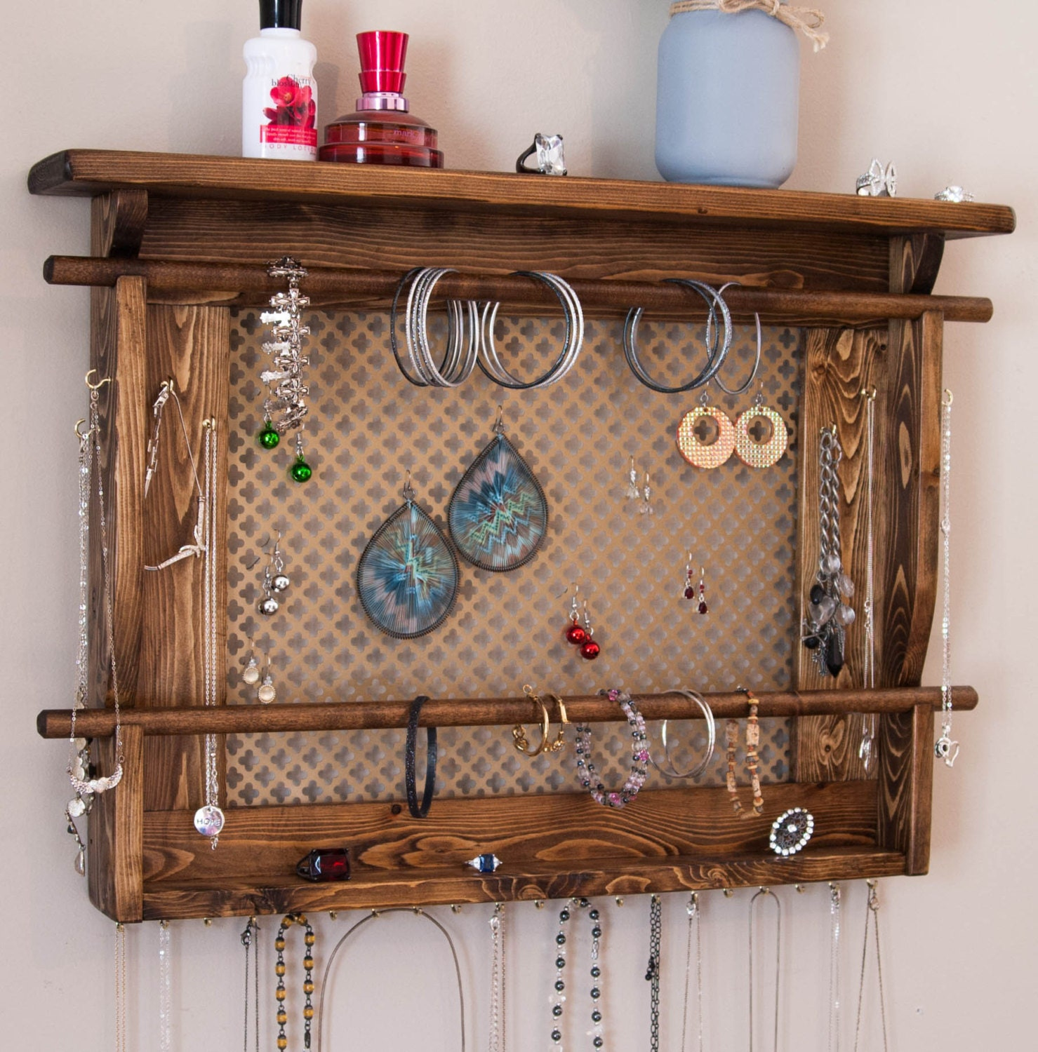 Jewelry Organizer Wall Jewelry Holder And Organizers On: Jewelry Holder Wall Jewelry Organizer With Two By MrandMissis