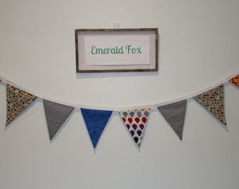 Childrens FABRIC bunting, 100% cotton, double sided