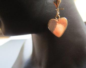 14kt Gold Heart Earrings  Pierced