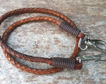 Genuine Braided Black or Brown Leather Wallet Chain, Mens Keychain, Leather Lanyard, 925 Sterling Silver Handmade Hook, Gift For Him