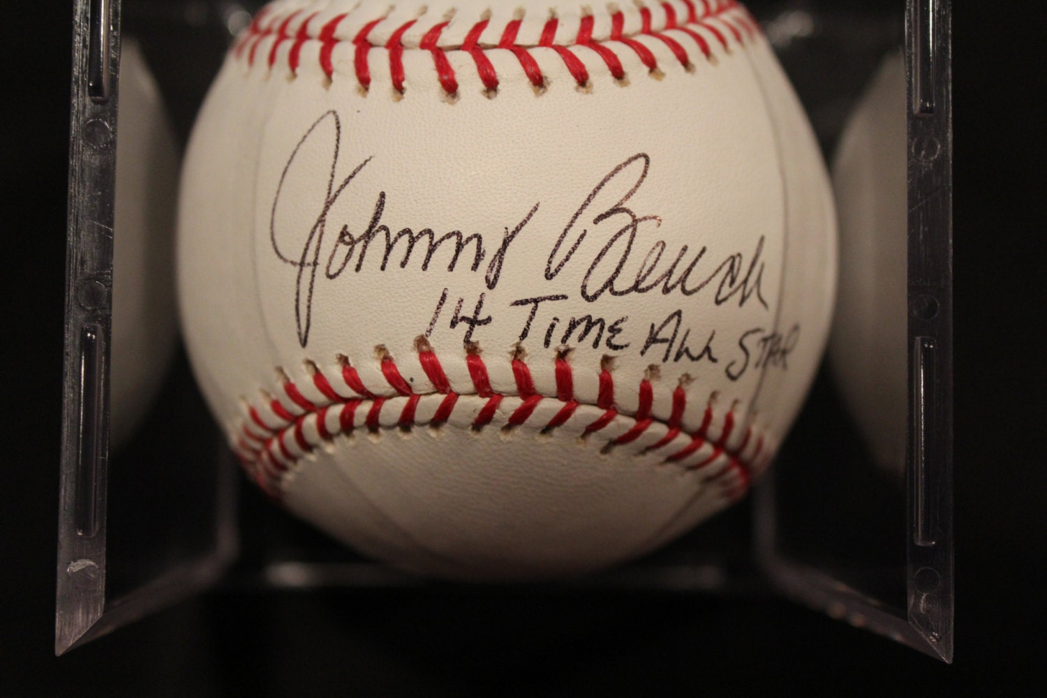 Johnny Bench Autographed Mlb Baseball With 14 Time All