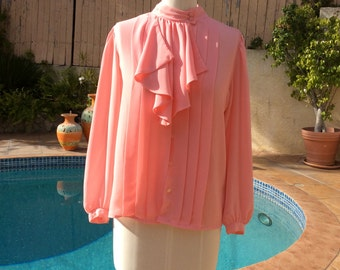 Pink ruffle blouse / Victorian blouse / 1970s blouse / pleated blouse/ belle sleeve blouse / chiffon blouse