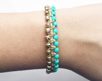 Two Toned Beaded Hemp Bracelet