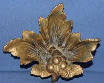 Vintage Ornate Floral  Brass Ashtray Bowl