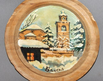 Vintage Hand painted Oil Wood Wall Hanging Plate Snowy Landscape