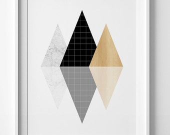 Triangles art, minimalist geometric print, printable art, minimalist wall art prints, triangle print, geometric wall art, affiche scandinave