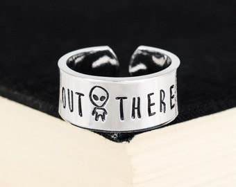 Out There - Aliens - Grey Man - UFO - 90s - Aluminum Cuff Ring