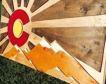 Wooden Colorado Flag- Sun Rays