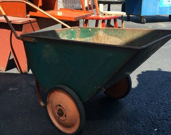 Vintage retro garden yard cart green with orange accents local pick up only