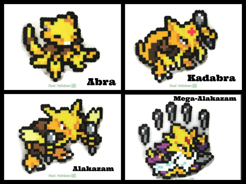 Abra Kadabra Alakazam Mega-Alakazam Pokemon Pixel by ...