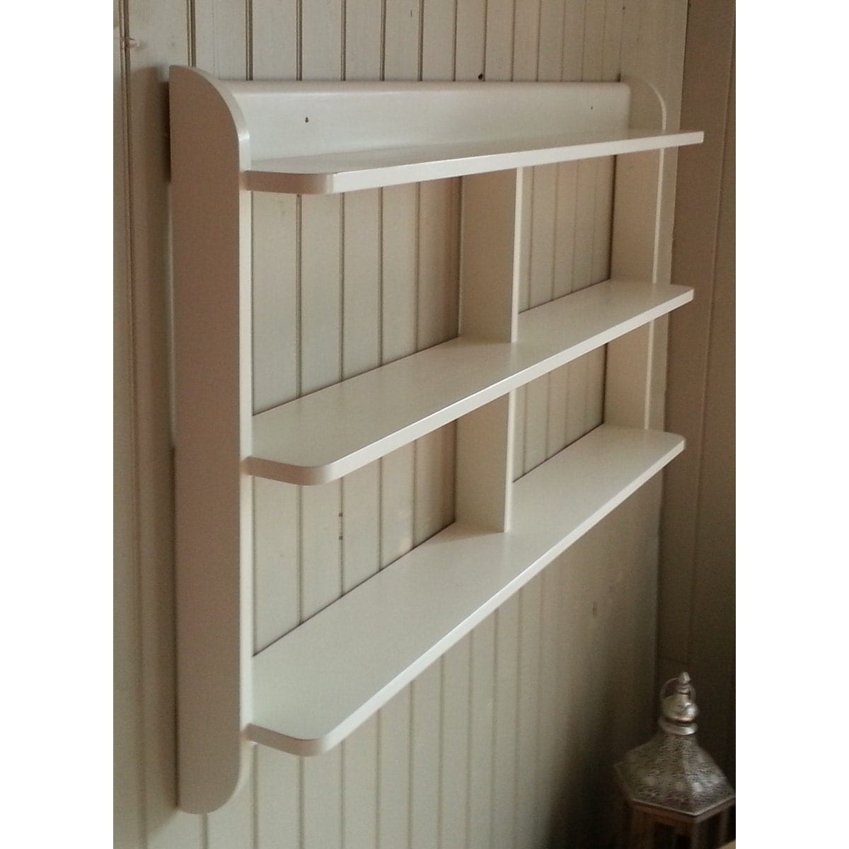 Hanging Open Kitchen Shelves: Wide Wall Mounted Open Back Shelf Unit. Painted Kitchen