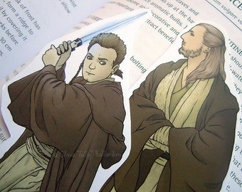 Star Wars bookmarks: Obi-Wan Kenobi & Qui-Gon Jinn. | Geek gift, Star Wars art, illustration, print, Star Wars gift.