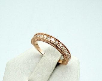 Stunning 14K Rose Gold Diamond Band  #ROSEDIA-B1
