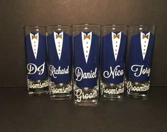 Personalized Shot Glasses with Tuxes, Groom and Groomsmen Wedding Glasses (1)
