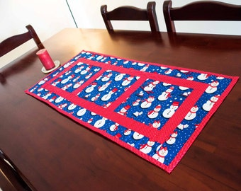 Christmas Table Runner with Snowmen in Red and Blue