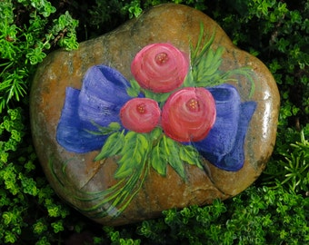 Painted Rock with Purple Bow and Roses, Floral Garden Stone