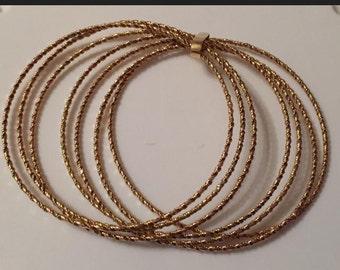 FINAL MARKDOWN Amazing Vintage 18 Carat Gold Set Of Seven Bangles 32.72 Grams.