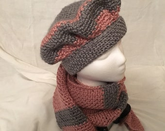 Heather Grey and Rose Hat and Scarf