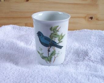 "Tooth glass "" PORCELAINE DE PARIS"" porcelain tooth tumbler ""Blue Bird"" | vintage Made in France french porcelain"