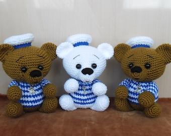 Crochet bear blue and brown. Crochet toy. Teddy bear. FREE SHIPPING.