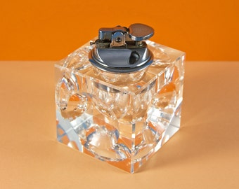 french vintage glass cube table lighter