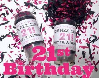 30% OFF SALE - Set of 10 -Pop, Fizz, Clink 21st Birthday Confetti Push-Pops
