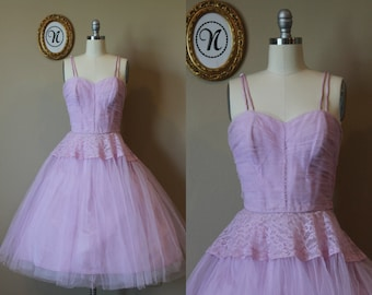Vintage 1950s ~ 50s Pink Tulle Prom Dress