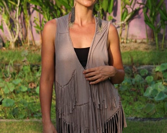 FRINGE VEST - women's jackets - festival jacket - hippie fringed vest - boho chic vest -