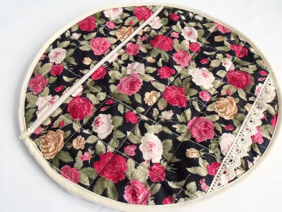pyjama case, nightwear bag, nighty storage pouch, lingerie bag, bed wear tidy, rose and black cotton fabric