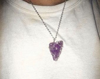 Raw Amethyst Crystal Necklace
