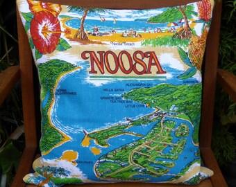 Noosa Cushion Cover Australian Places Australiana Queensland Tropical Flowers Upcycled Vintage Tea Towel Beach House Decor Sunshine Coast