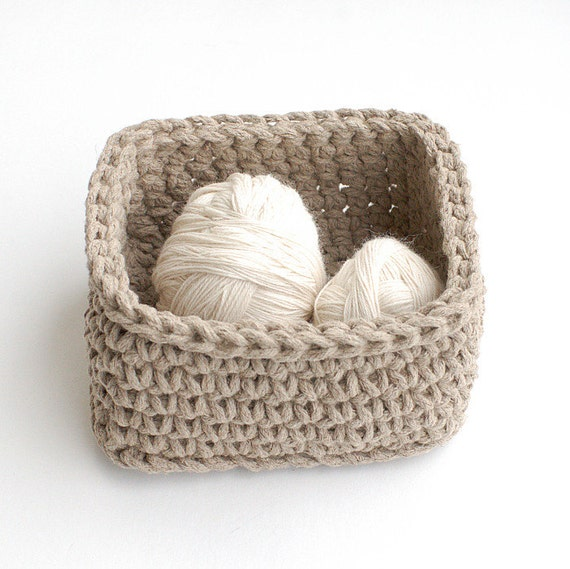 Crochet Rope Basket : Linen basket rope crochet - Bread basket - Natural linen flax gray ...